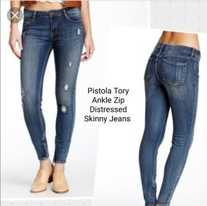 Pistola Tory Ankle Zip Distressed Skinny Jeans